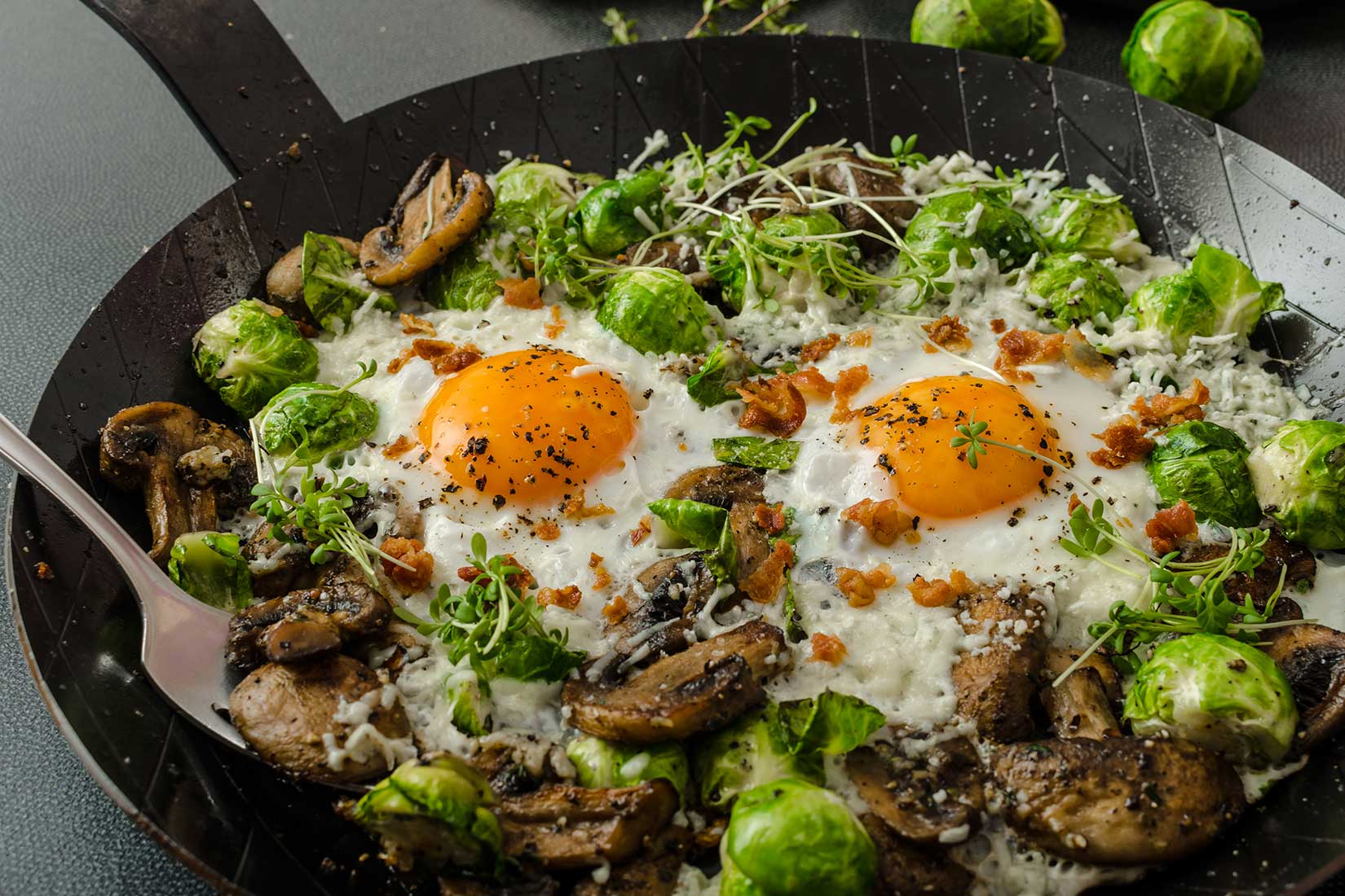 fried eggs with Brussels sprouts