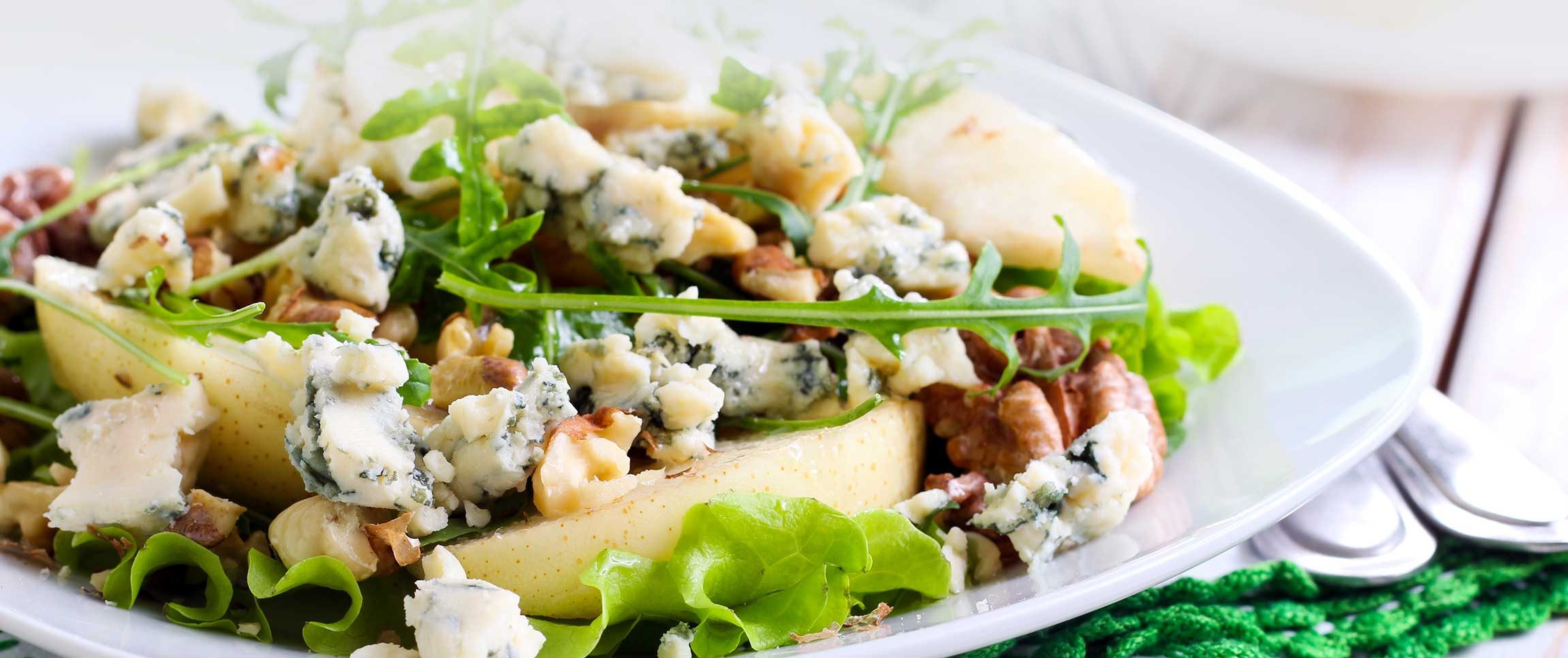 Spring Salad with Pears, Walnuts, and Blue Cheese Crumbles
