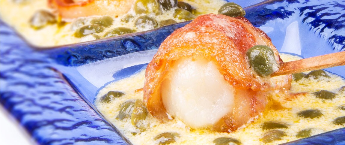 Bacon Scallops with Lemon Caper Sauce