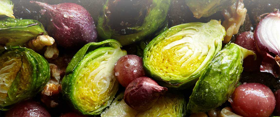 Roasted Brussels Sprouts, Grapes and Walnuts