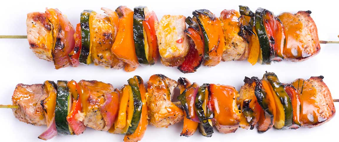 Pork and Vegetables Kabobs