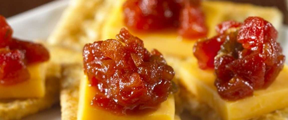 Cheese and Tomato Jam Canapes