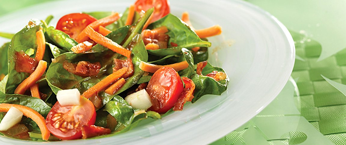 Spinach Salad with a Hot and Spicy Dressing
