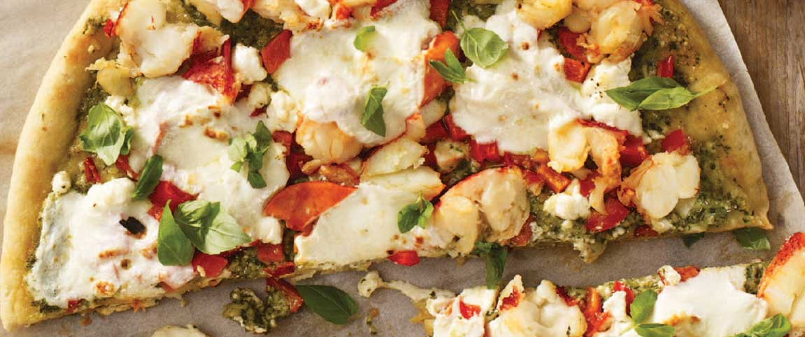 Roasted Garlic Pesto and Maine Lobster Pizza