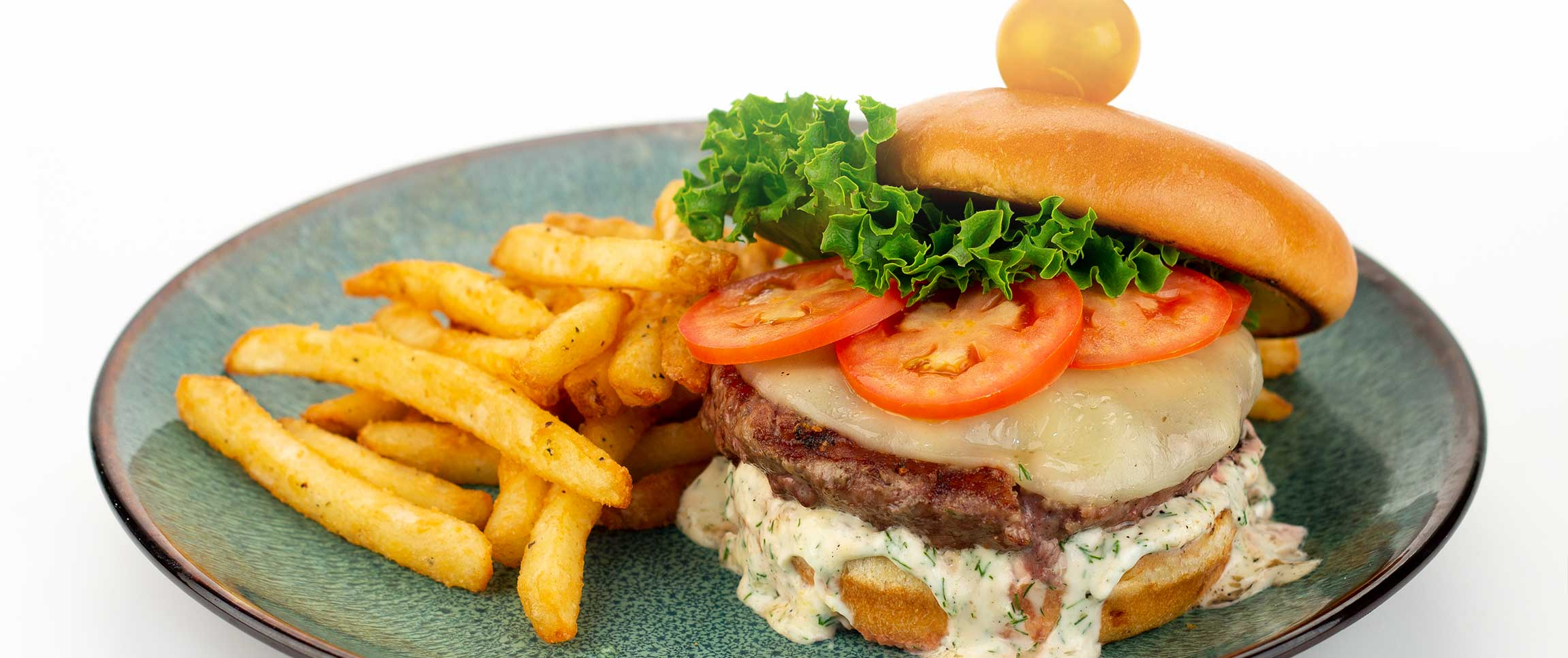 Lamb Burger with French Fries