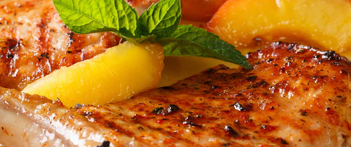 Pork Cutlets with Bourbon Glazed Peaches