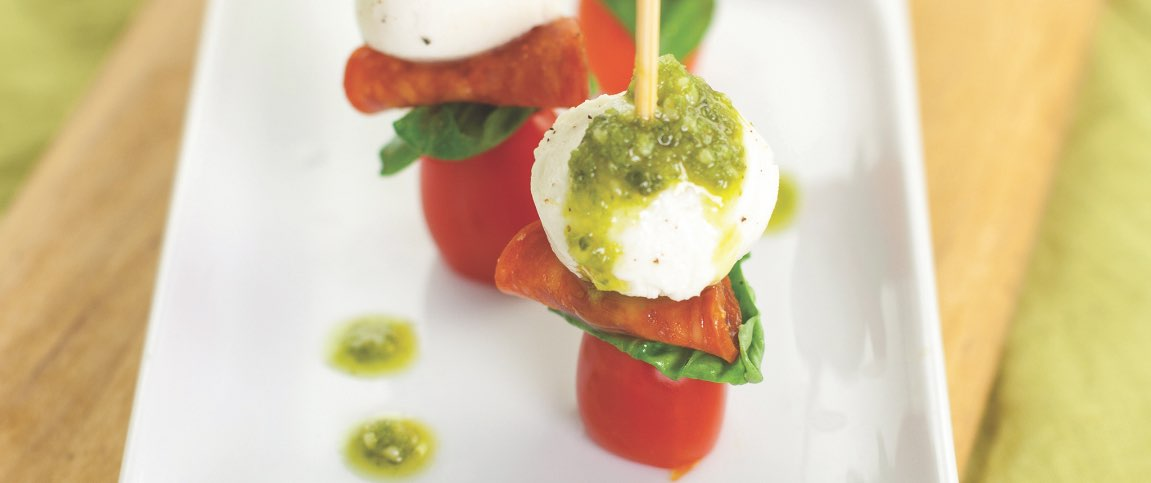 Pepperoni Caprese Poppers with Basil Pesto