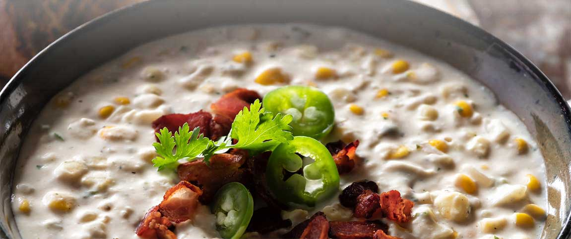 Roasted Jalapeno and Corn Chowder