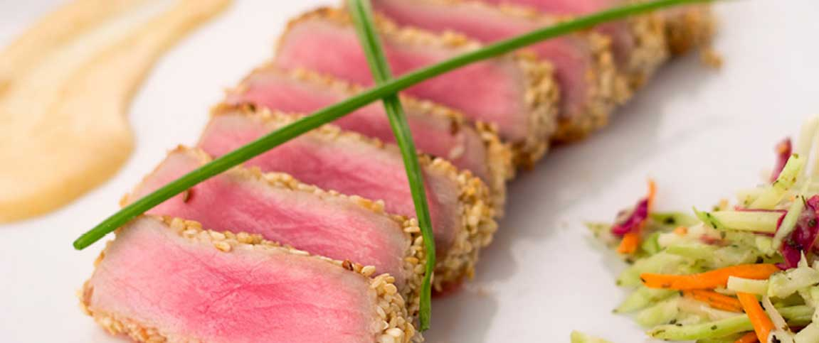 Sesame Crusted Tuna with Chipotle Beurre blanc