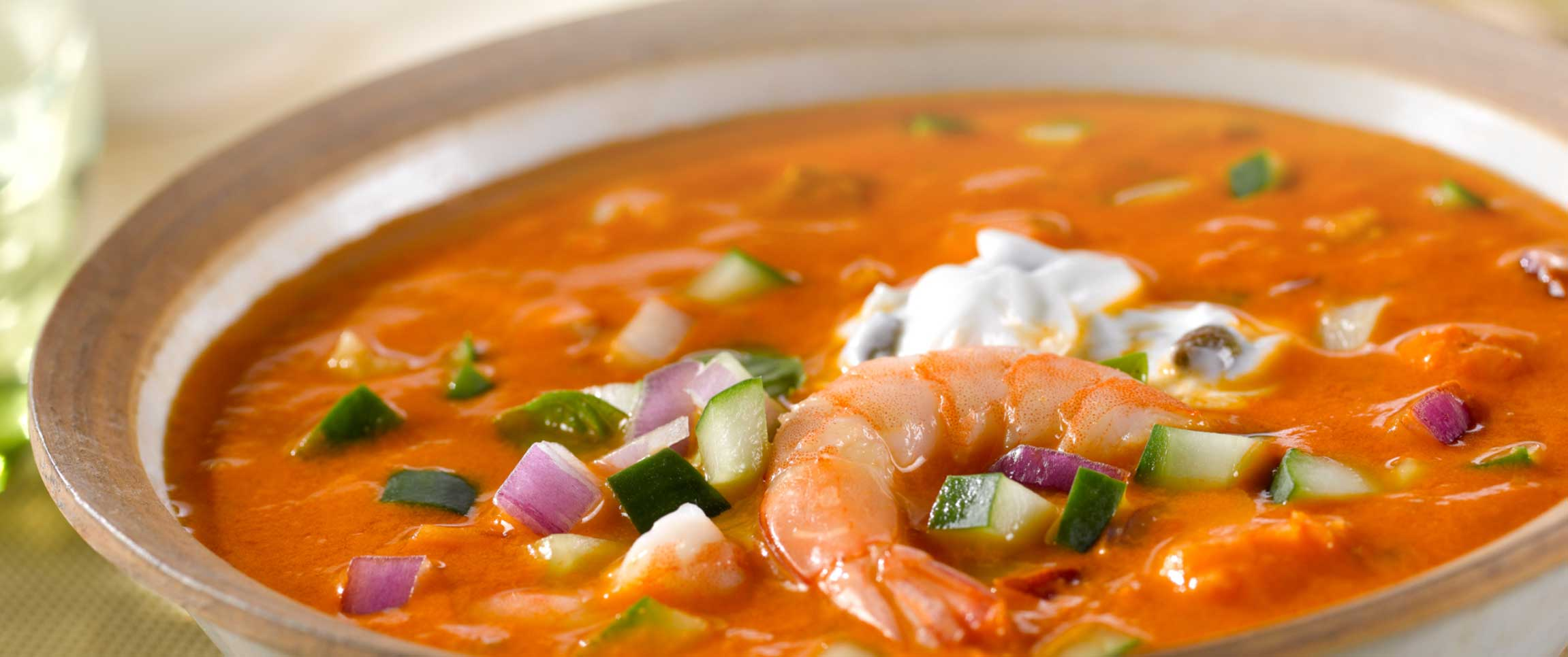 Tuscan Shrimp Gazpacho Soup in a white bowl