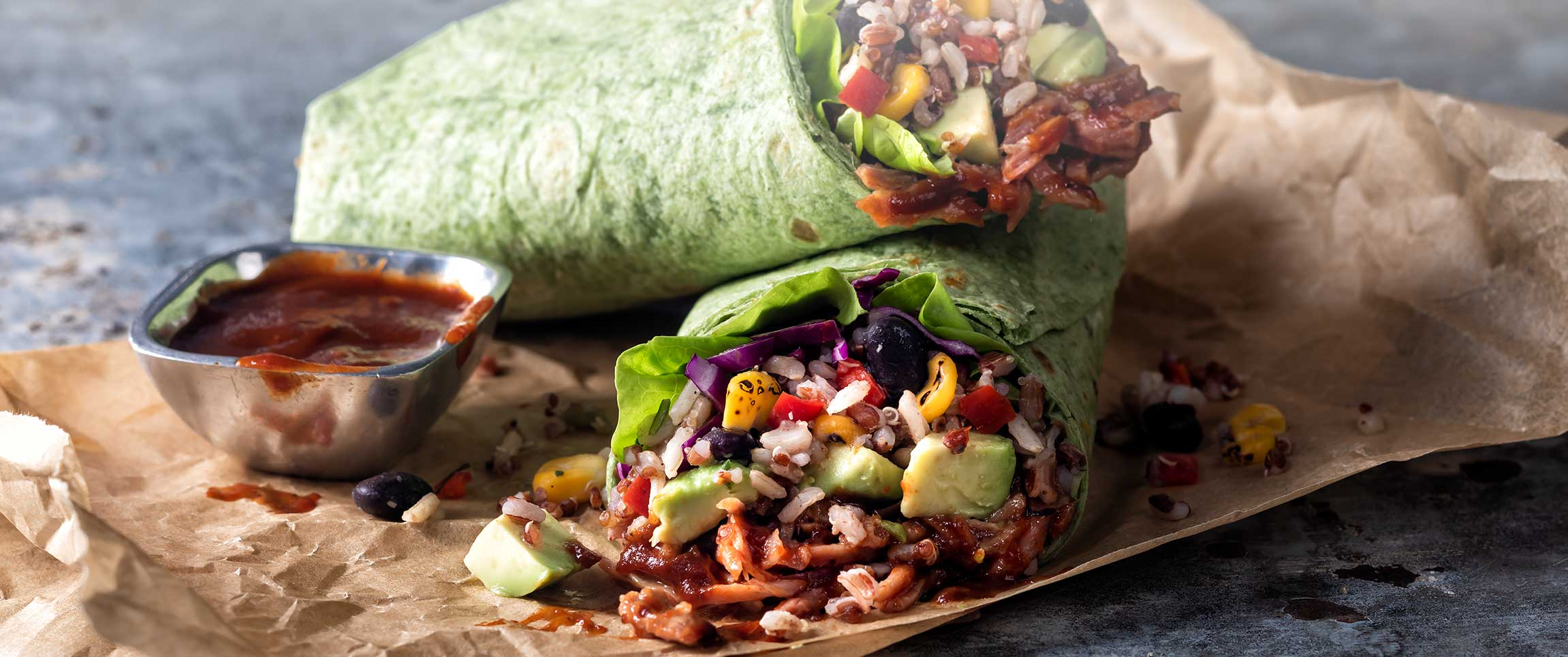 Grains and Fire Roasted Vegetable Chicken Wrap