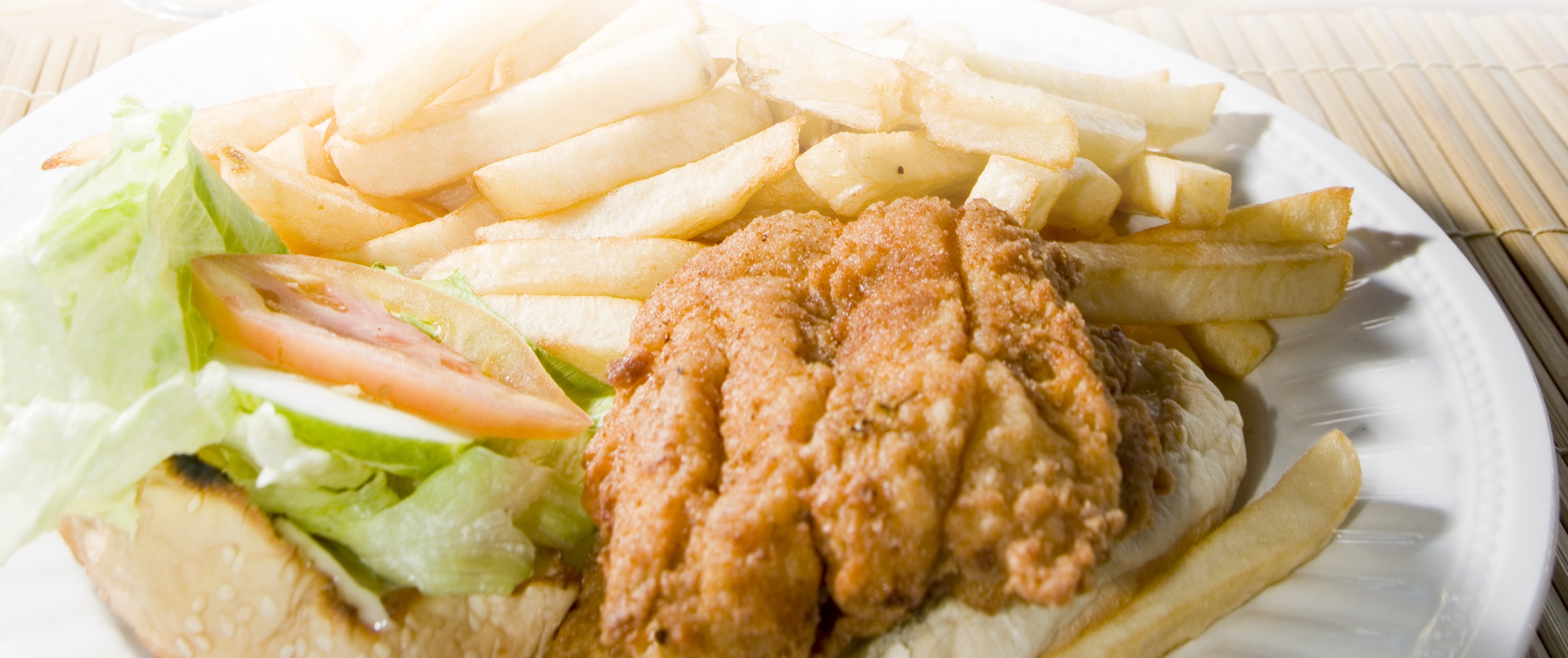 Fried Fish and French Fry Sandwich