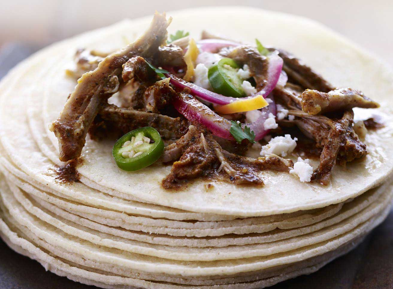 Pork Cochinita Pibil and Caramalized Onion Taco