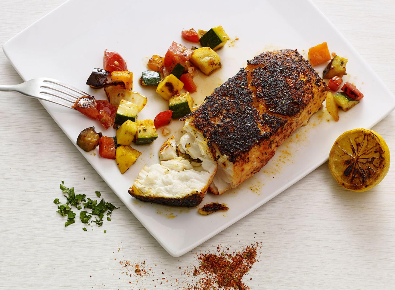 Crusted Pollock and Ratatouille