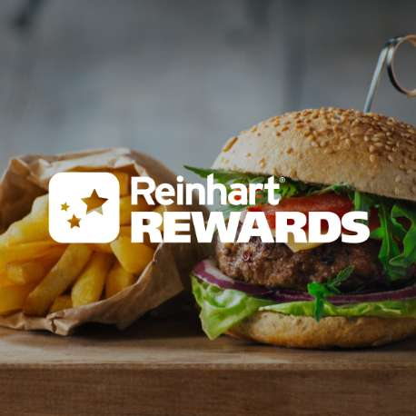 Reinhart Rewards logo over image of burgers